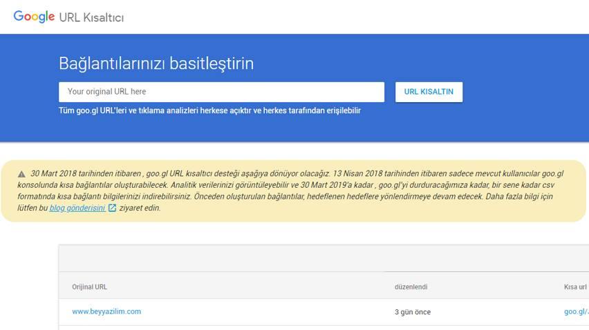 Google Açıklama Yaptı : 13 Nisan'da Goo.gl Url Kısaltma Servisini Kapatıyoruz