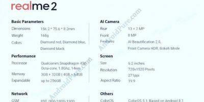 Realme 2 Cep telefonu özellikleri neler?