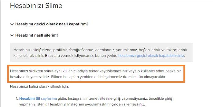 Silinen instagram kullanıcı adı geri alma
