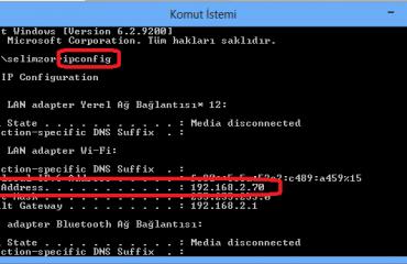 iP adresini cmd ile yenileme komutları