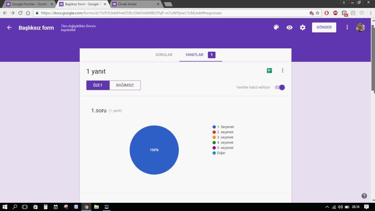 Google Anket Nasıl Oluşturma 2019