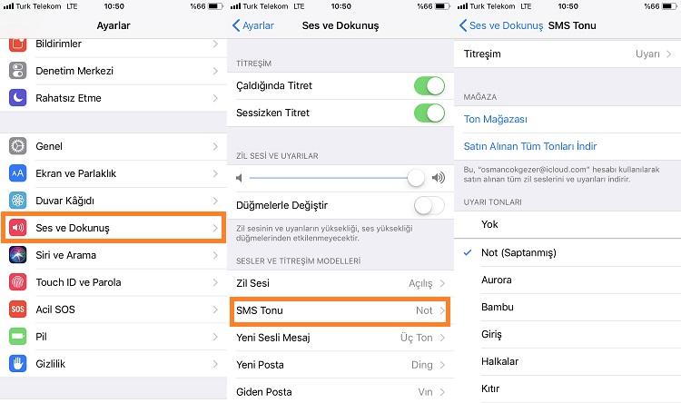 iPhone Mesajlar için Farklı Ses Tonu Ayarlama
